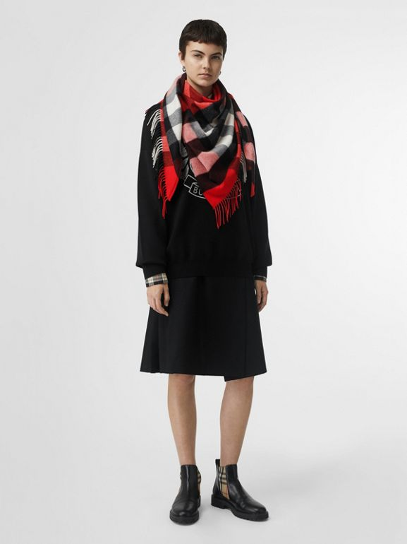 The Burberry Bandana in Check Cashmere in Bright Military Red | Burberry Hong Kong - cell image 1