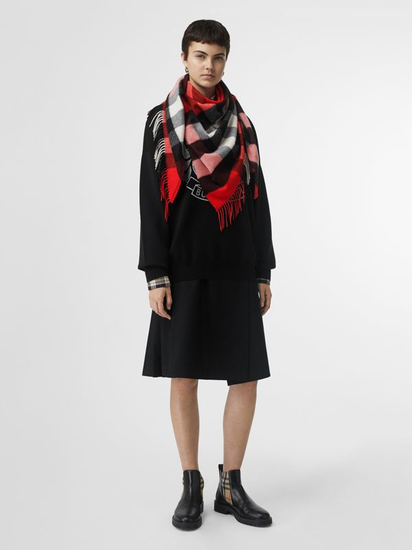 The Burberry Bandana in Check Cashmere in Bright Military Red | Burberry United Kingdom - cell image 2
