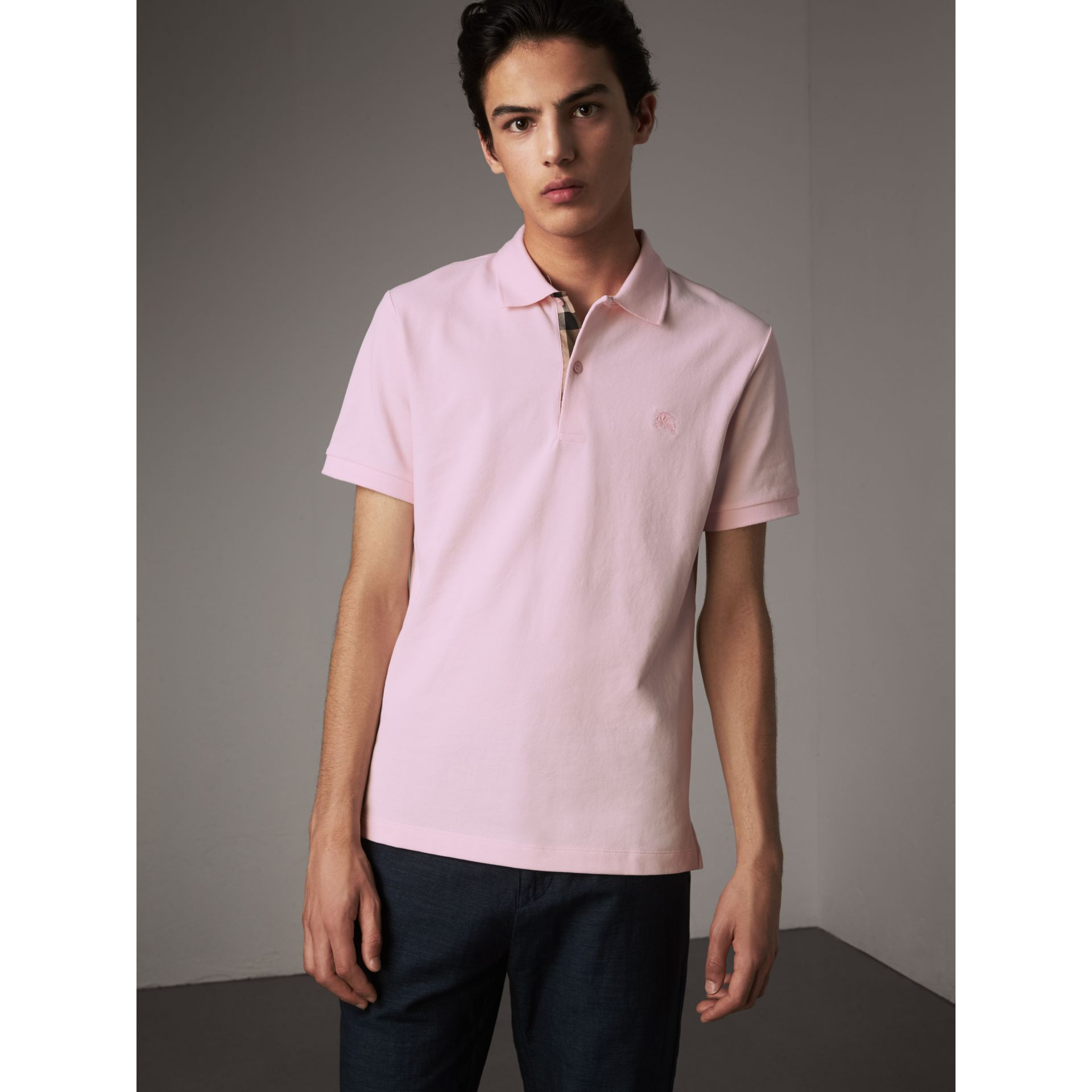 Check Placket Cotton Piqué Polo Shirt in City Pink - Men | Burberry - gallery image 1