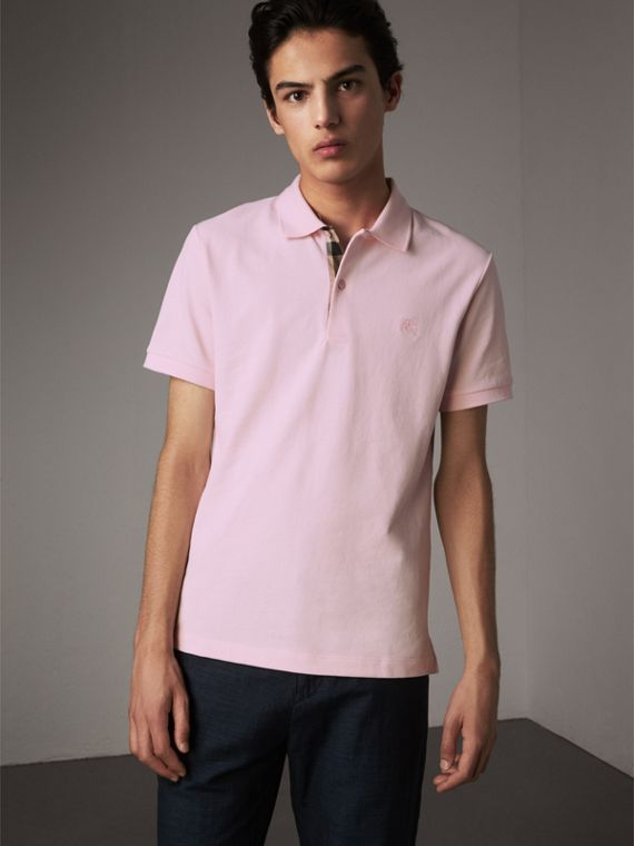 Check Placket Cotton Piqué Polo Shirt in City Pink - Men | Burberry Singapore