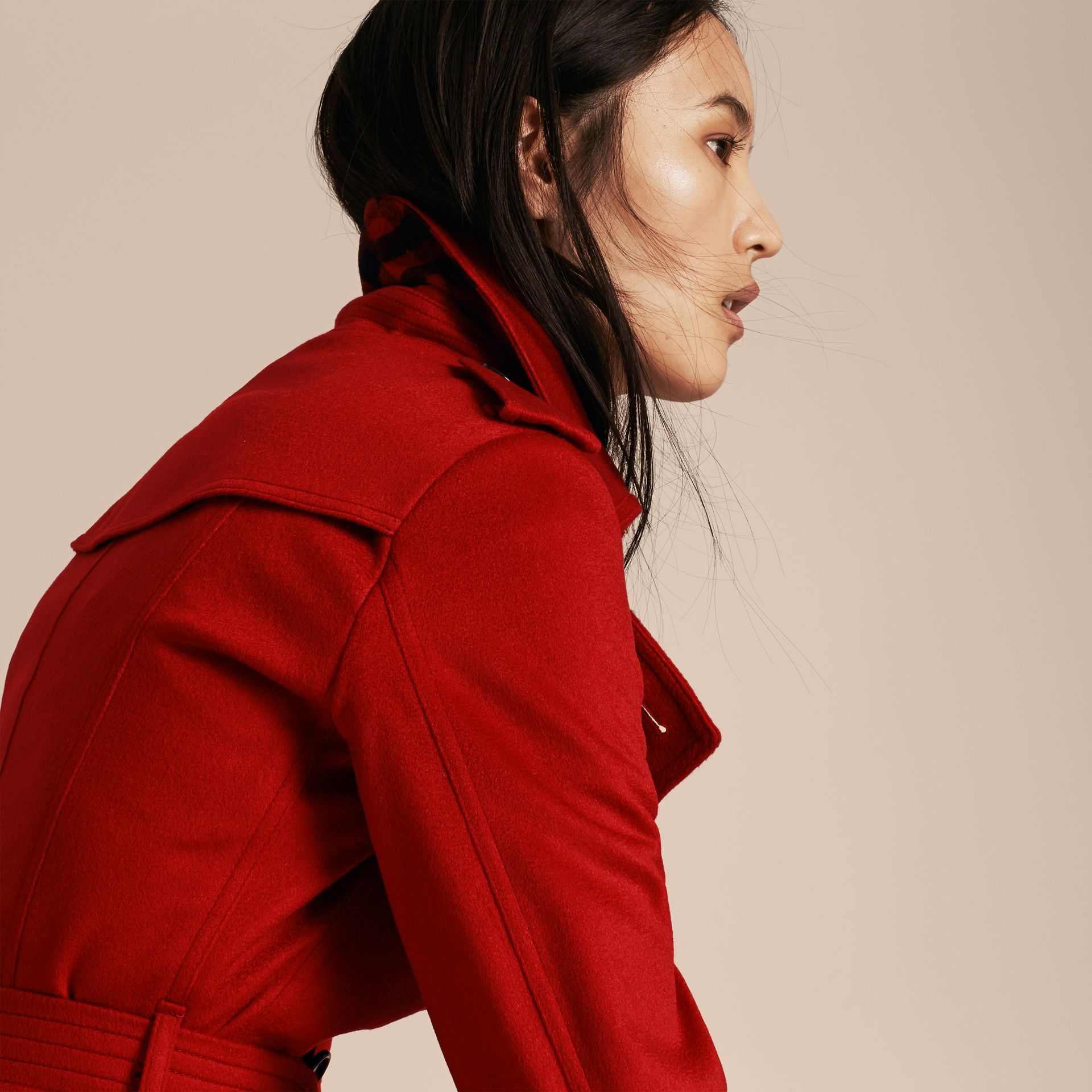 Sandringham Fit Cashmere Trench Coat Parade Red - gallery image 5