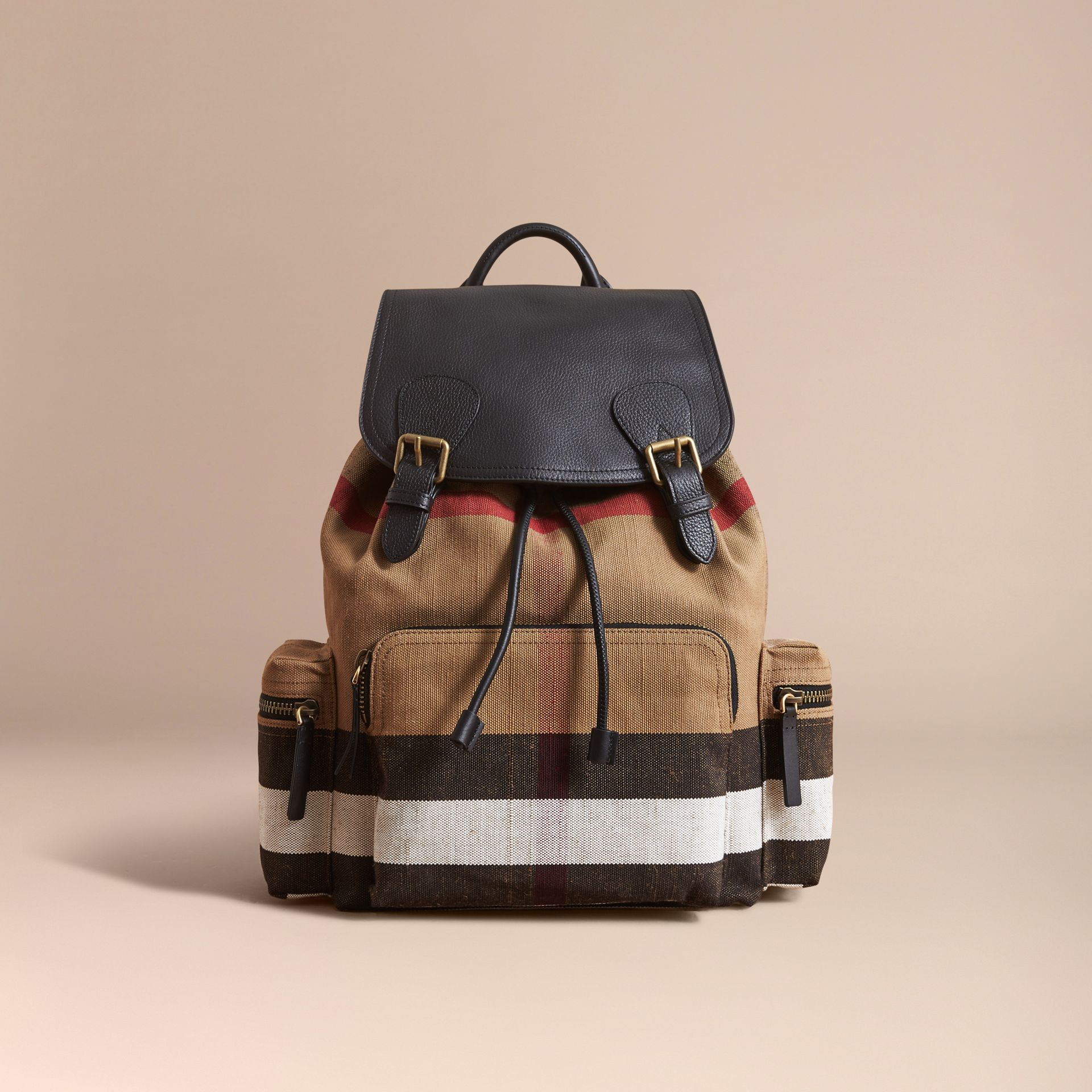 The Large Rucksack in Canvas Check and Leather in Classic - Men | Burberry United Kingdom - gallery image 6