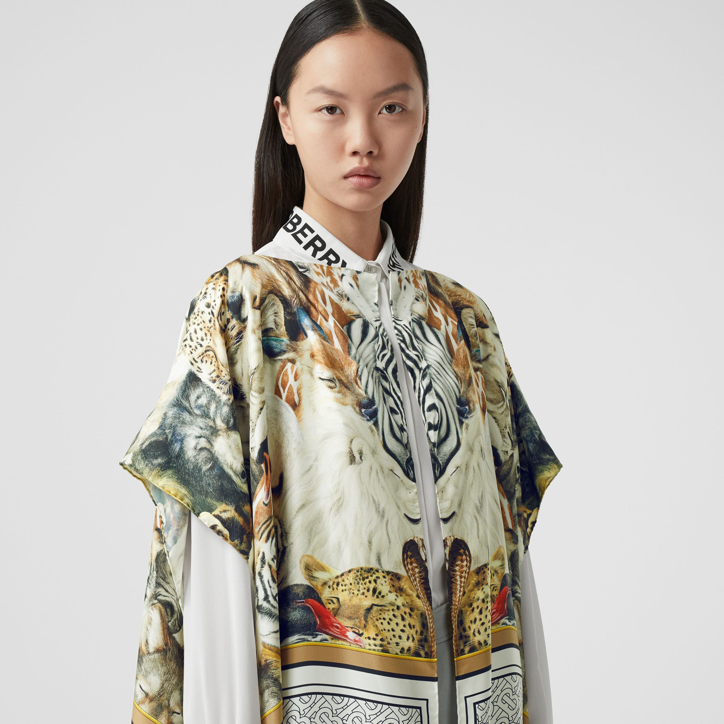 Montage Print Silk Twill Cape in Multicolour - Women | Burberry - 2