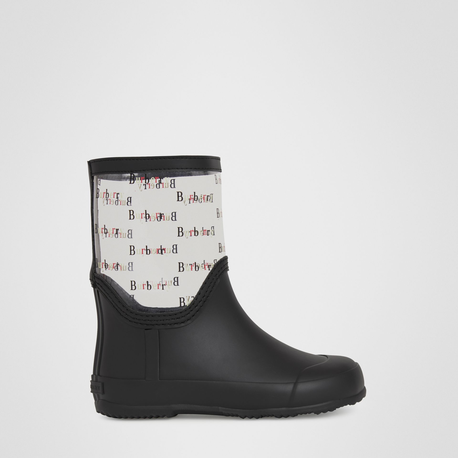 Logo Print Rubber Rain Boots in Black | Burberry - gallery image 2