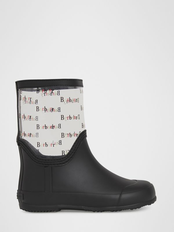 Logo Print Rubber Rain Boots in Black | Burberry - cell image 2