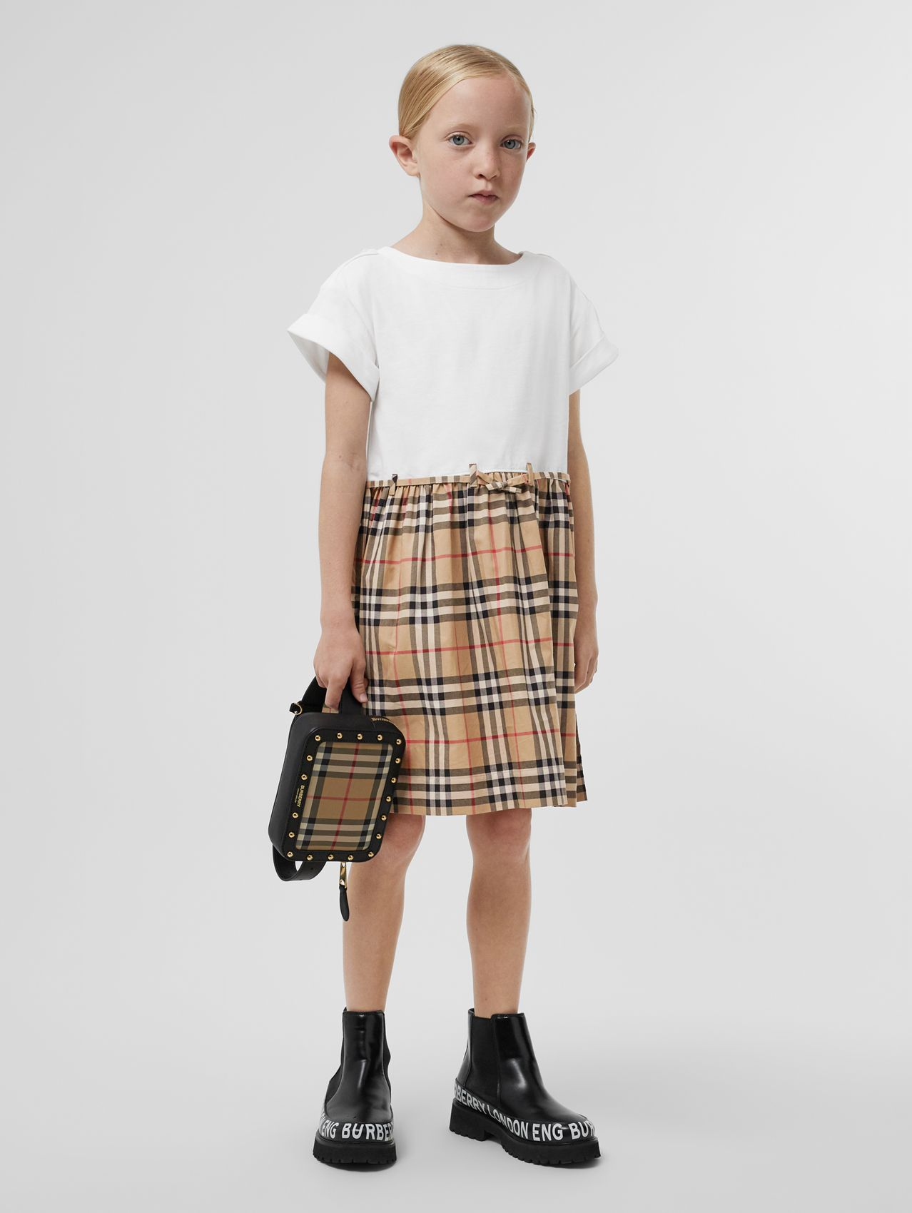 Vintage Check Detail Cotton Dress in White