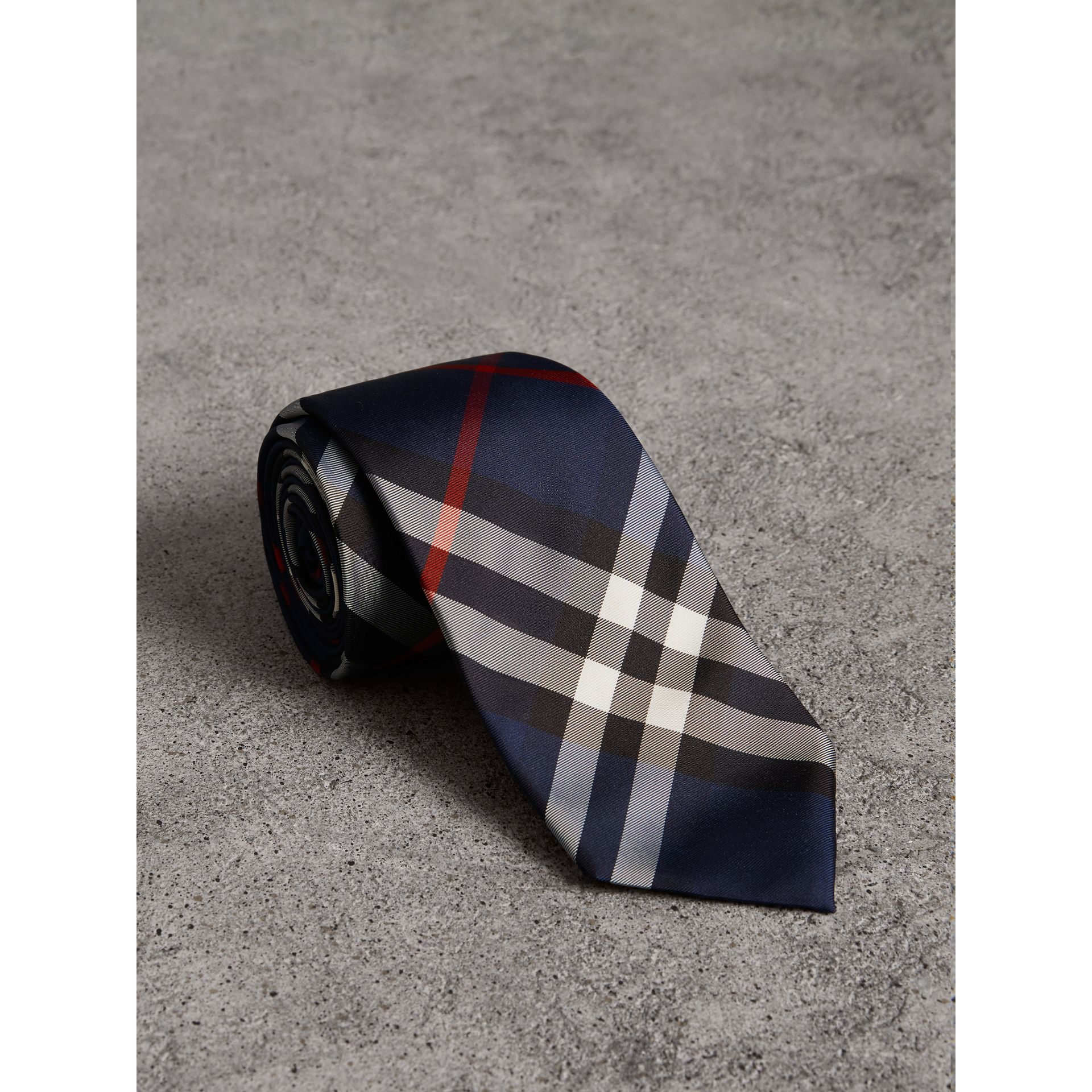 Modern Cut Check Silk Twill Tie in Navy - Men | Burberry Australia - gallery image 0