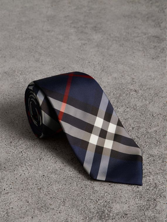 Modern Cut Check Silk Twill Tie in Navy