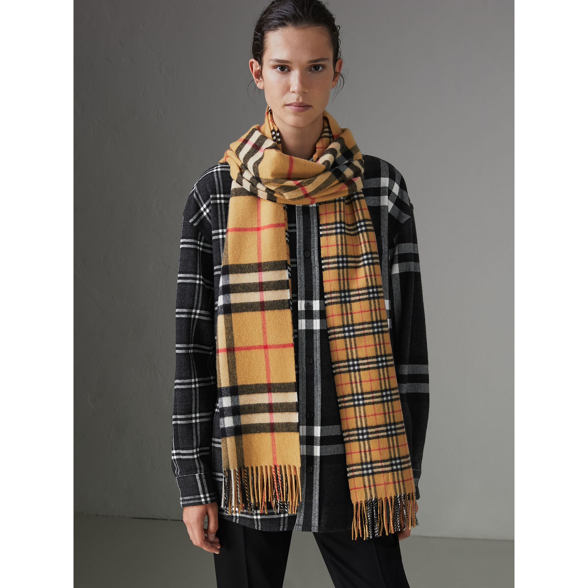 Gosha x Burberry Check Cashmere Double Scarf in Antique Yellow | Burberry - gallery image 4