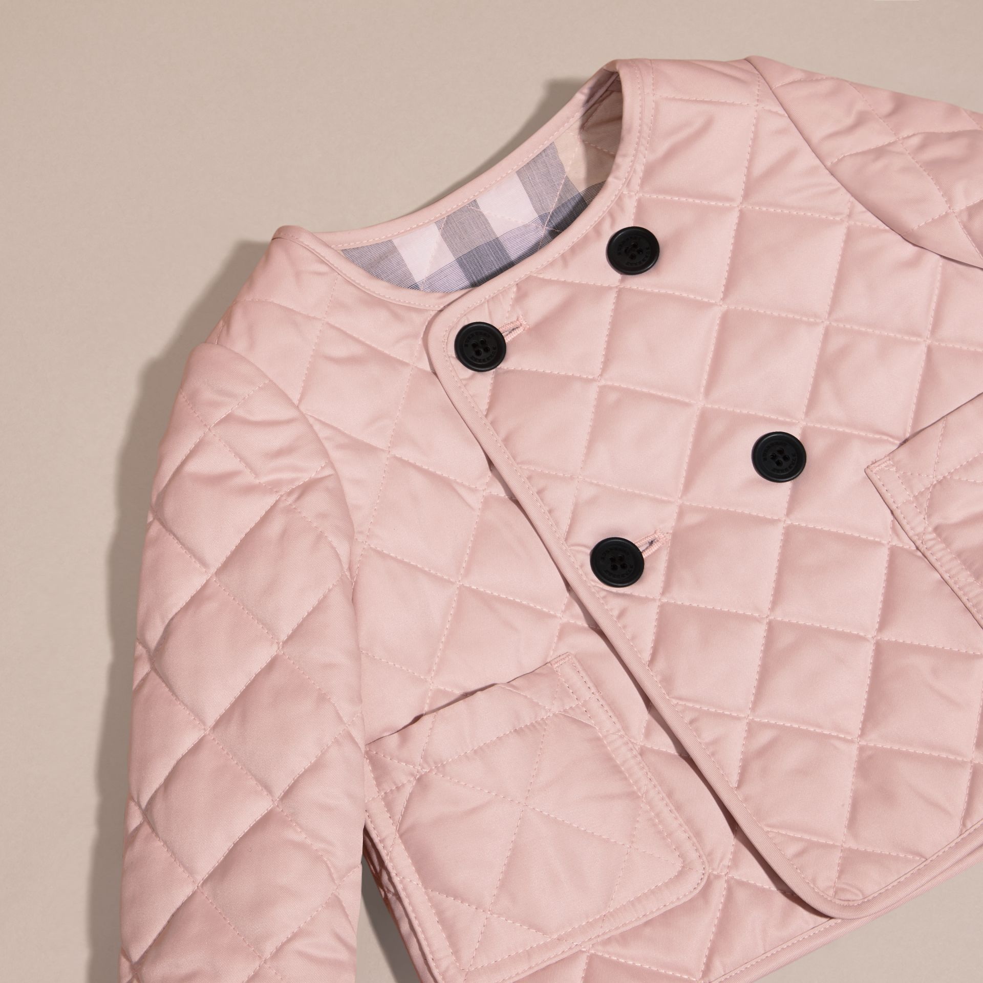 Powder pink Collarless Diamond Quilted Jacket - gallery image 2