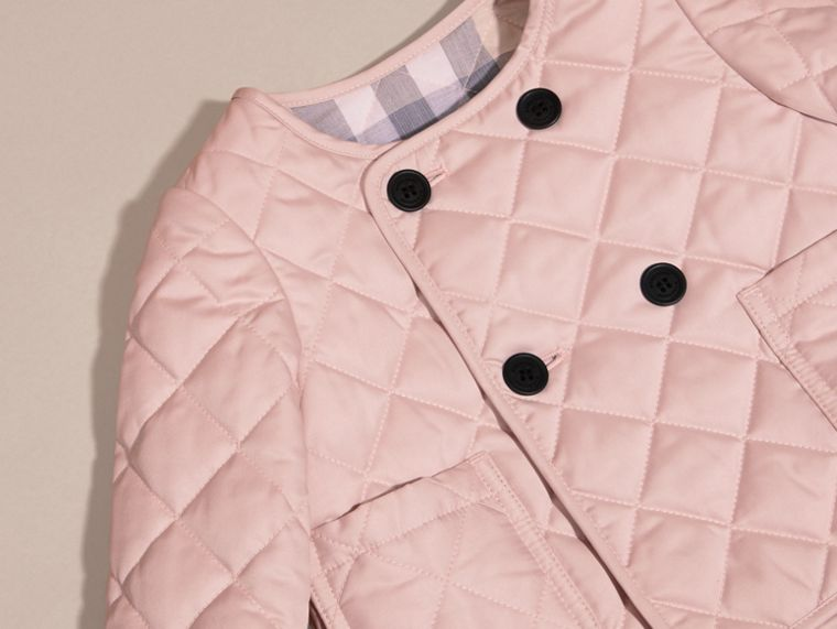 Powder pink Collarless Diamond Quilted Jacket - cell image 1