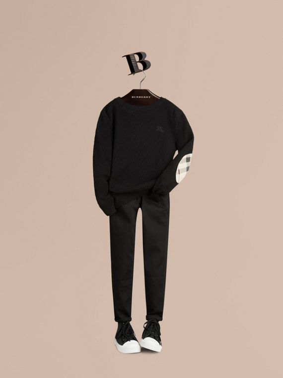 Check Elbow Patch Cashmere Sweater in Black