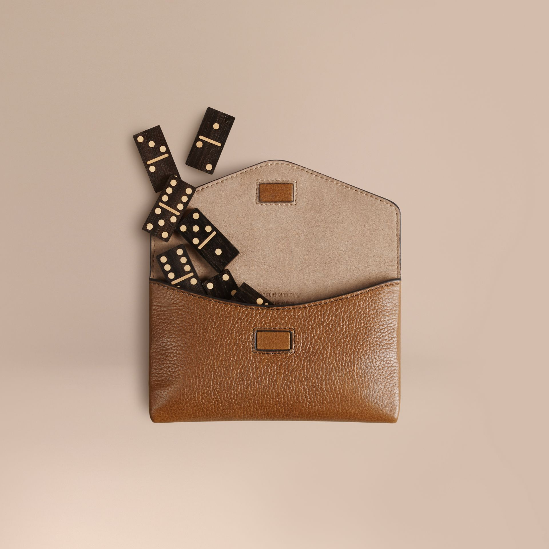 Wooden Domino Set with Grainy Leather Case in Tan | Burberry - gallery image 1