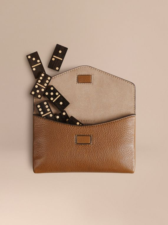 Wooden Domino Set with Grainy Leather Case in Tan
