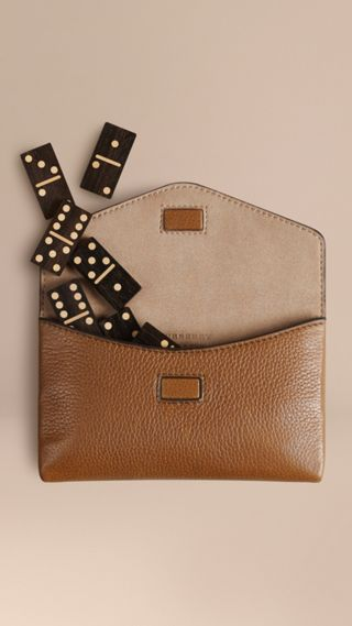 Wooden Domino Set with Grainy Leather Case