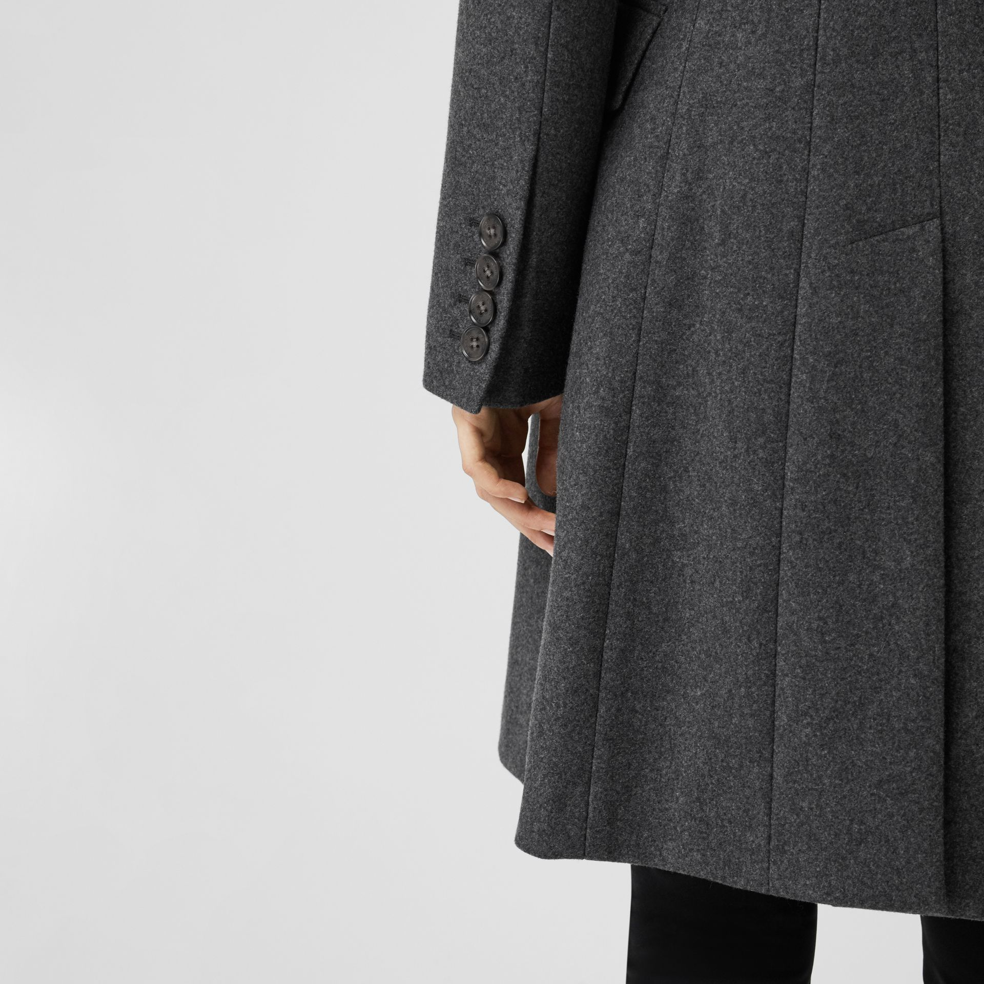 Double-breasted Wool Tailored Coat in Mid Grey Melange - Women | Burberry Singapore - gallery image 4