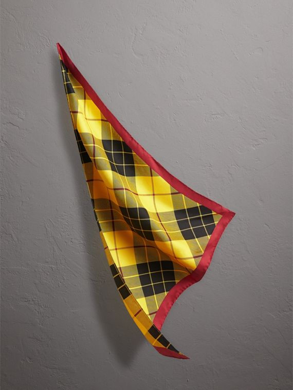 The Burberry Bandana in Check Silk in Vibrant Yellow