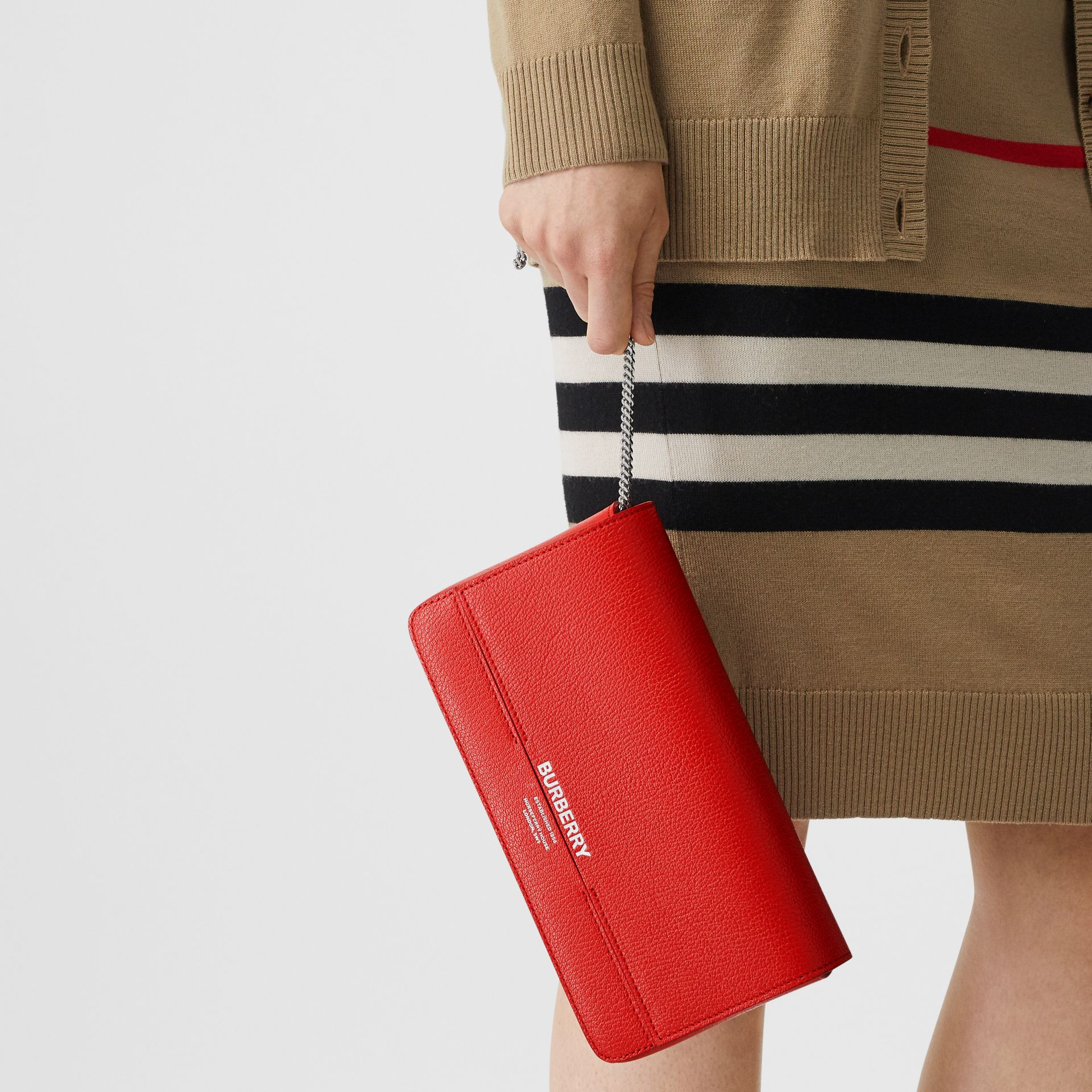 Leather Grace Clutch in Bright Military Red - Women | Burberry - gallery image 2