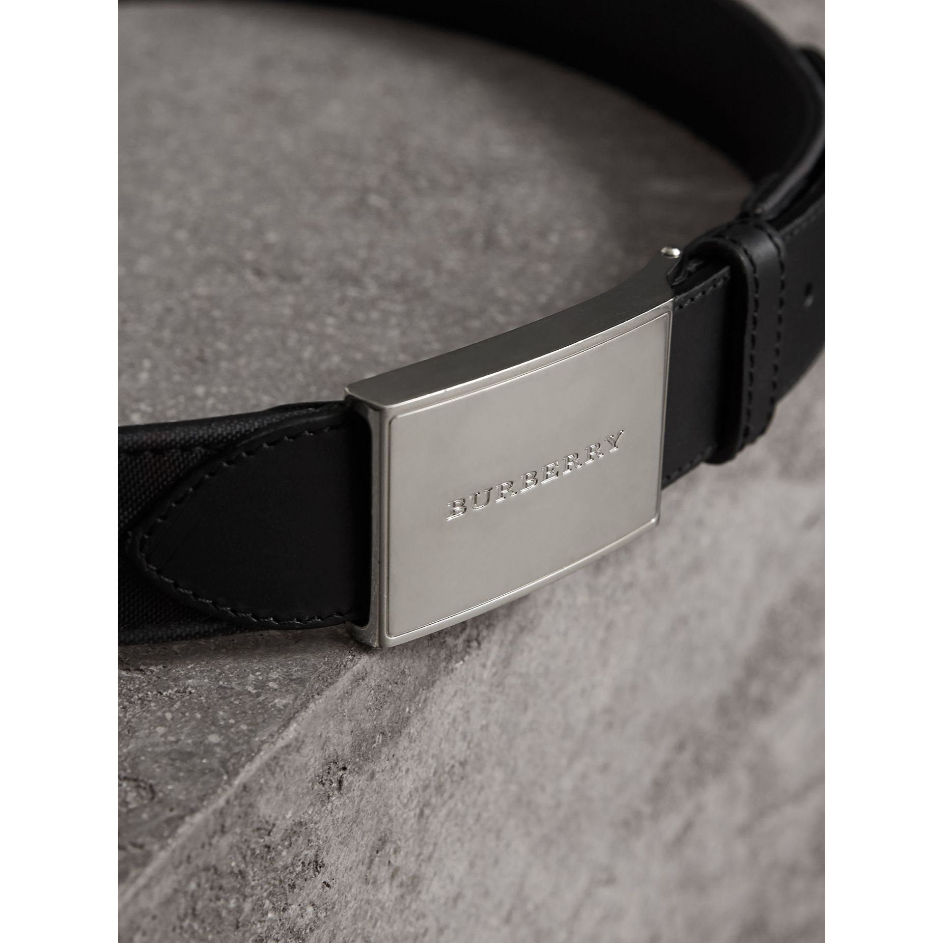 Horseferry Check and Leather Belt in Charcoal/black - Men | Burberry - gallery image 2