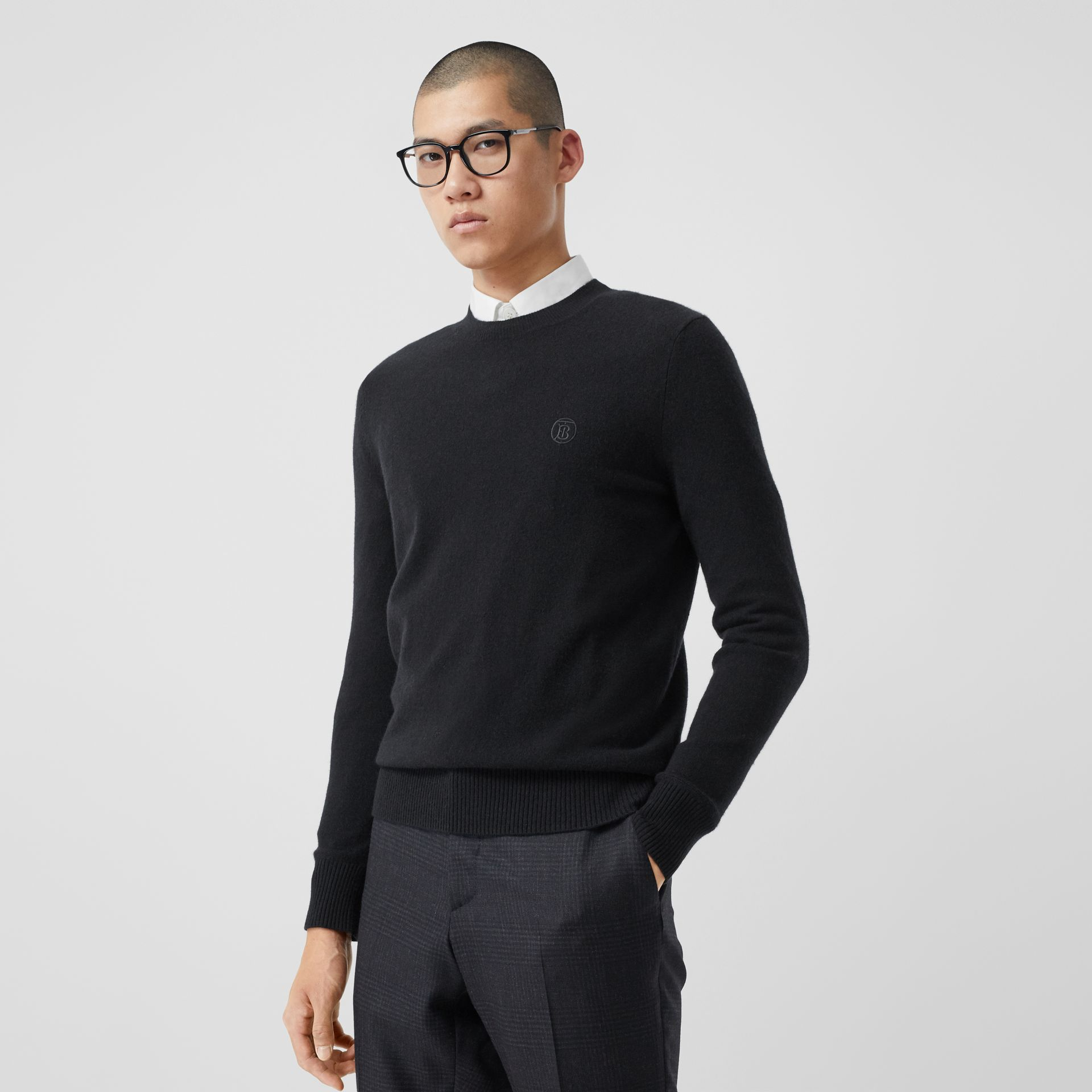 Monogram Motif Cashmere Sweater in Black - Men | Burberry Canada - gallery image 0
