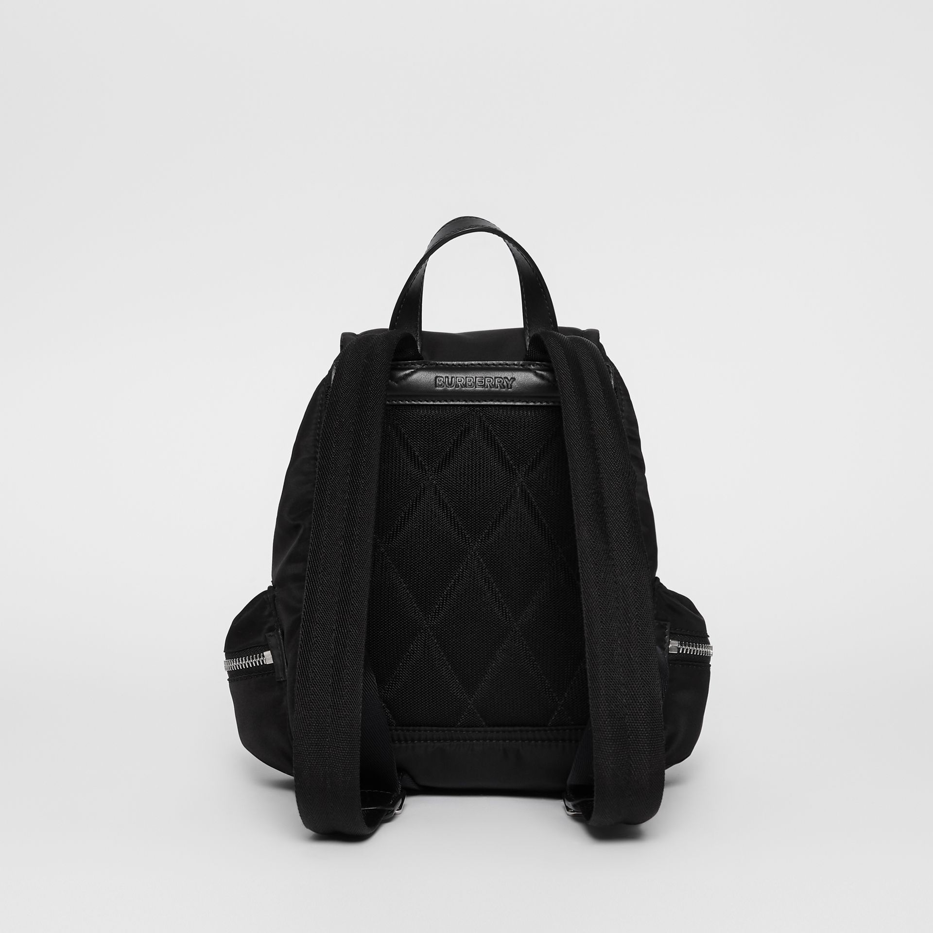 The Small Rucksack in Logo Print Nylon in Black - Women | Burberry Canada - gallery image 7