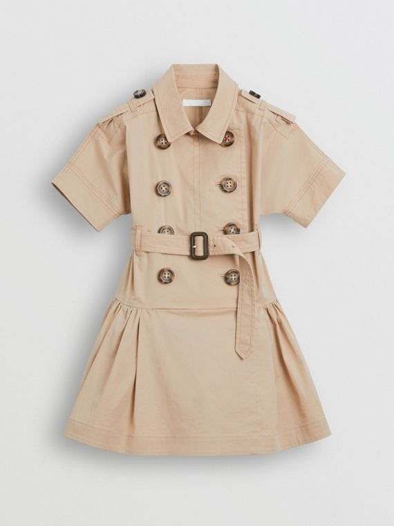 Stretch Cotton Trench Dress in Honey