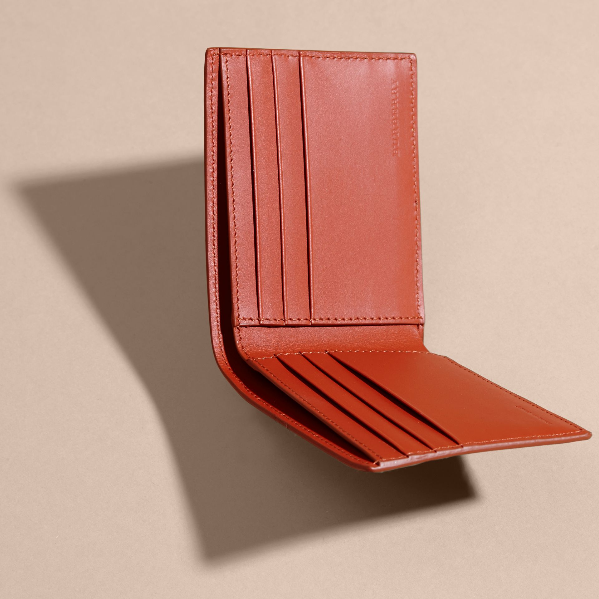 London Leather Slim Folding Wallet Burnt Sienna - gallery image 5