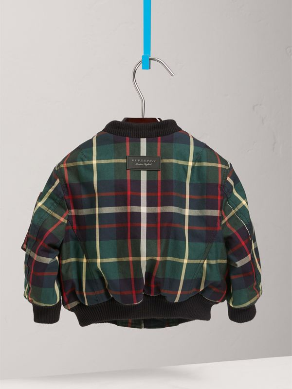 Tartan Padded Cotton Gabardine Bomber Jacket in Racing Green | Burberry - cell image 3