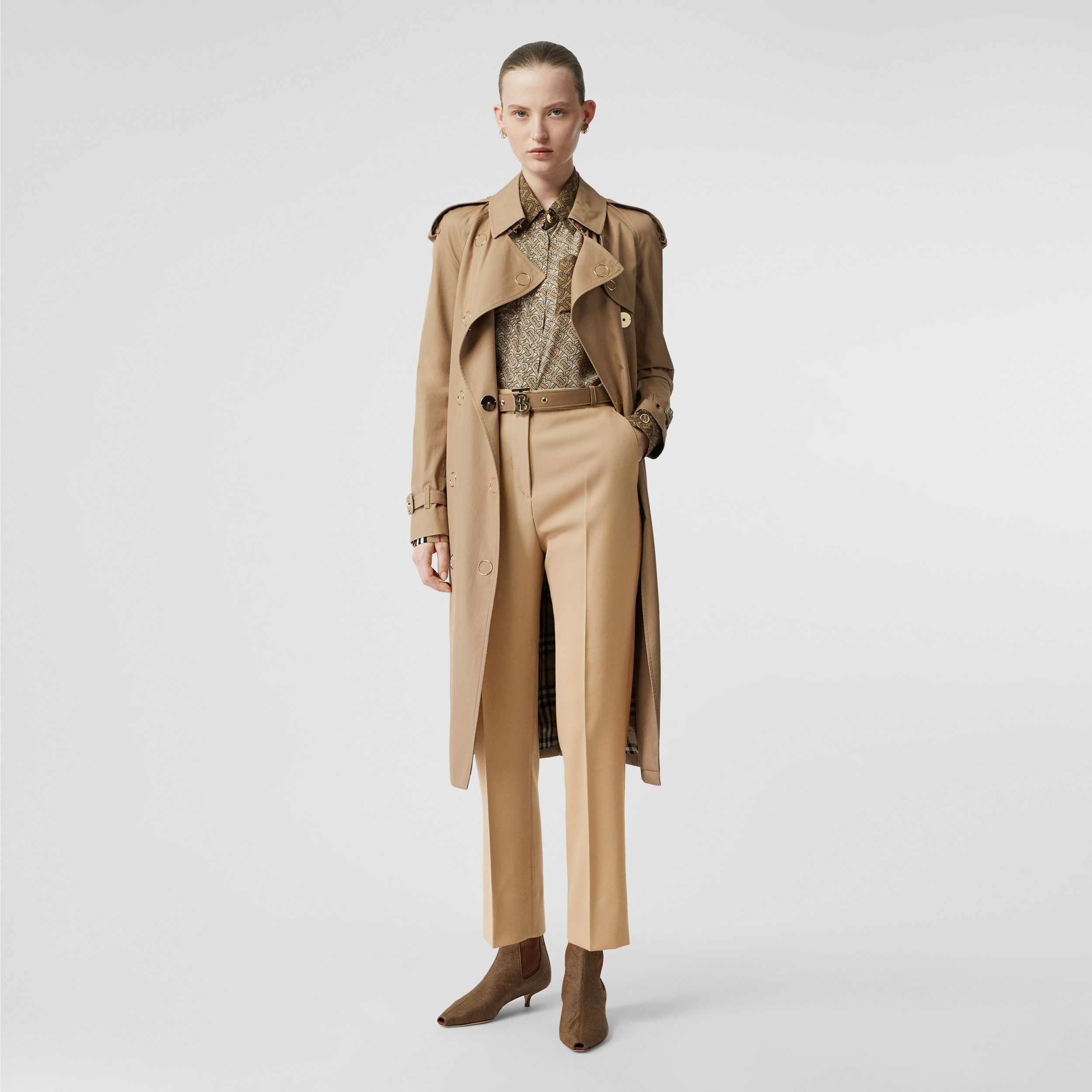 Wool Tailored Trousers in Honey - Women | Burberry - 1