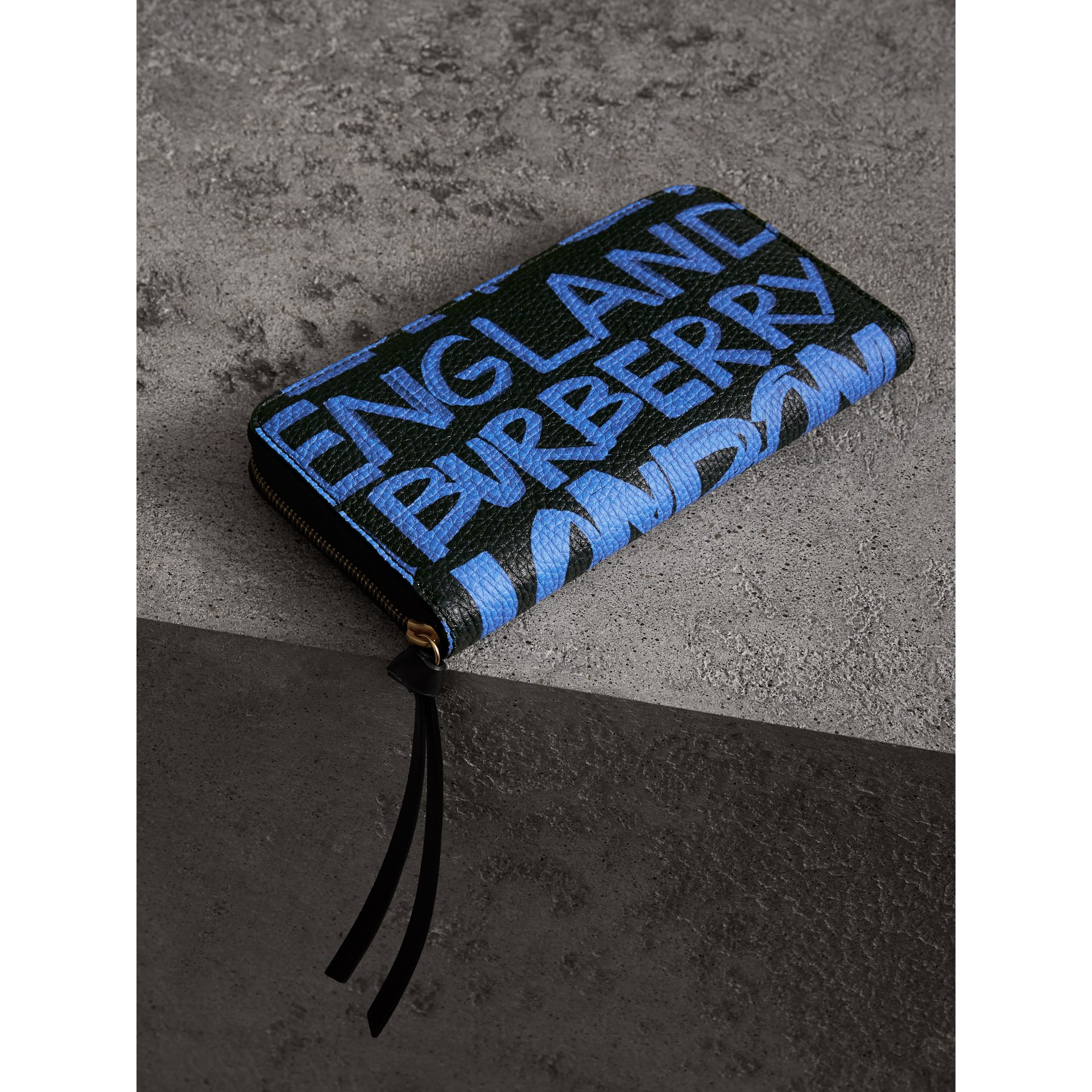 Graffiti Print Leather Ziparound Wallet in Blue/black - Women | Burberry Australia - gallery image 2