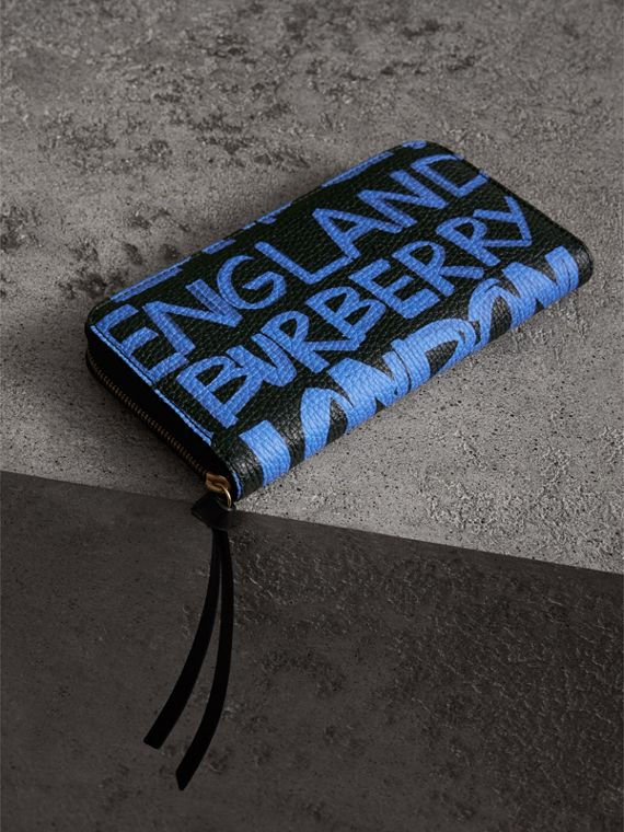 Graffiti Print Leather Ziparound Wallet in Blue Black - Women | Burberry - cell image 2