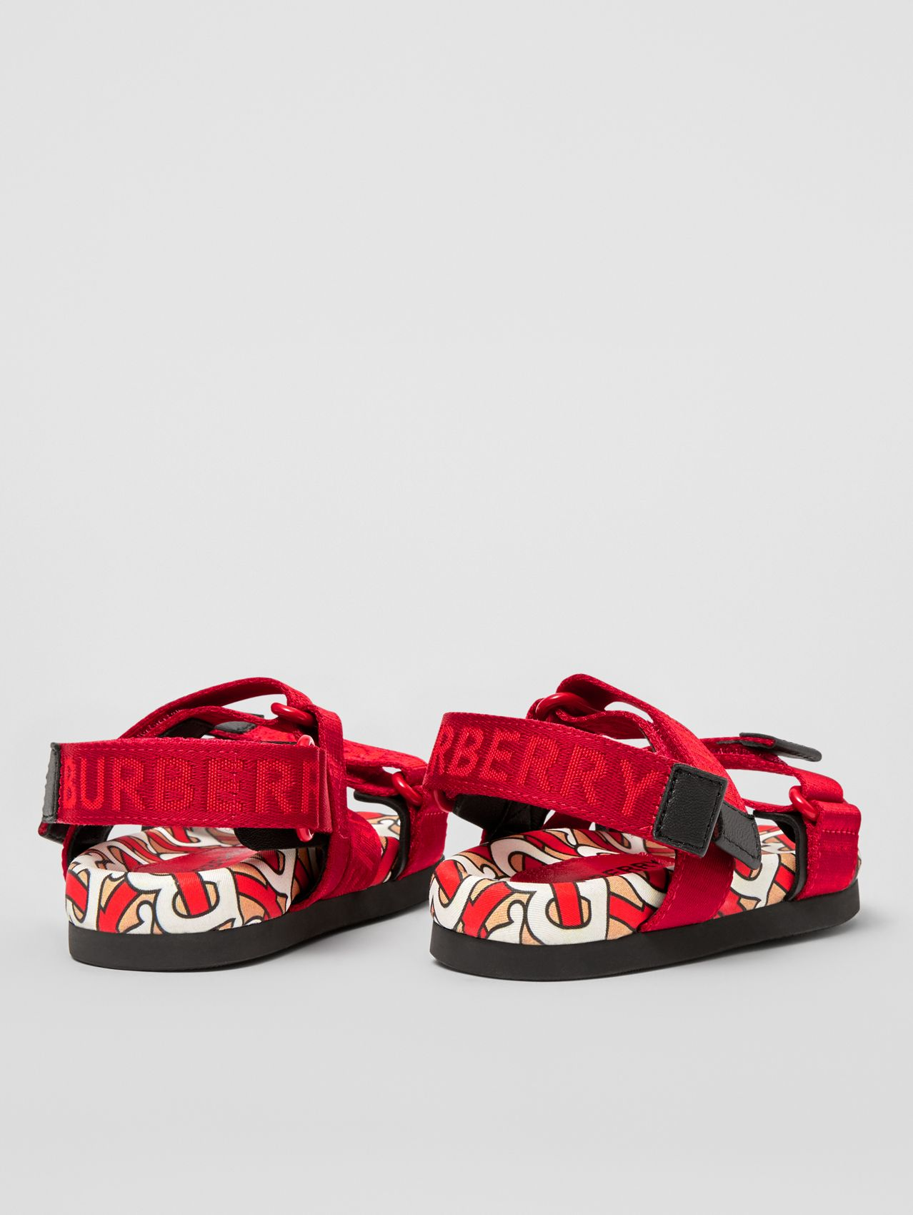 Monogram Print Cotton Gabardine Sandals (Bright Red)
