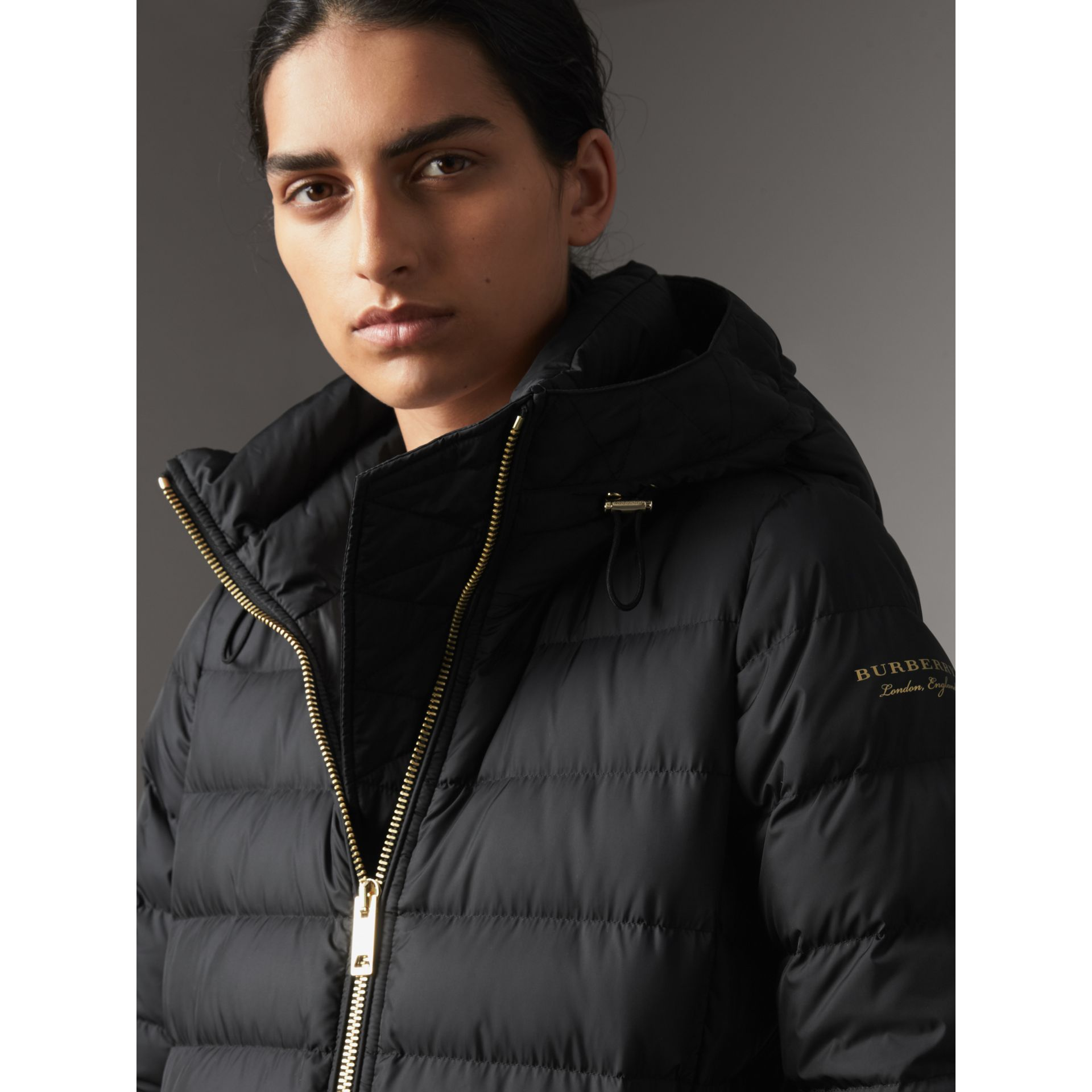 Hooded Down-filled Puffer Jacket in Black - Women | Burberry - gallery image 1