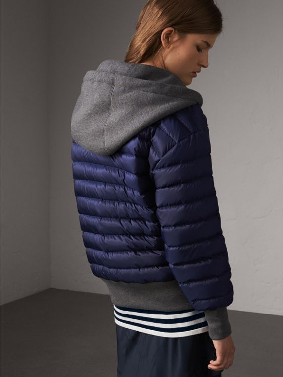 Reversible Down-filled Hooded Bomber Jacket in Bright Navy - Women | Burberry Australia - cell image 2
