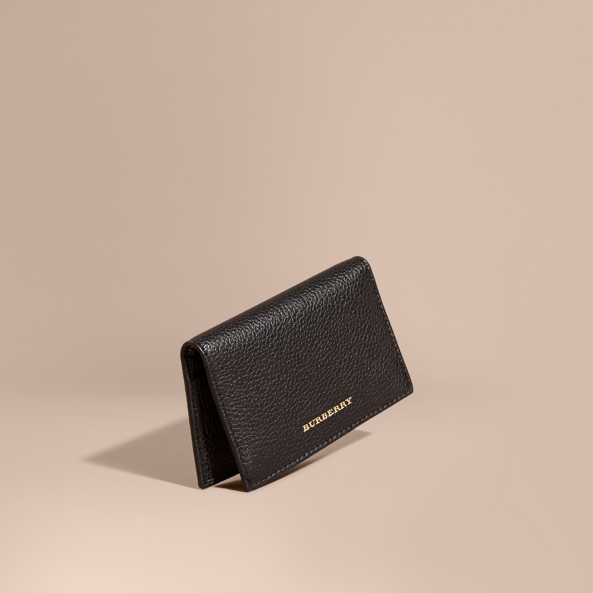 Black Grainy Leather Card Holder - gallery image 1