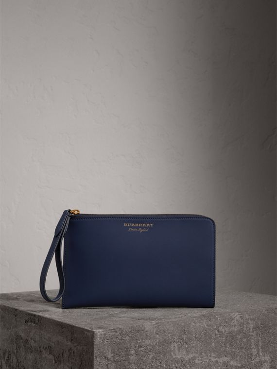 Two-tone Trench Leather Travel Wallet in Ink Blue