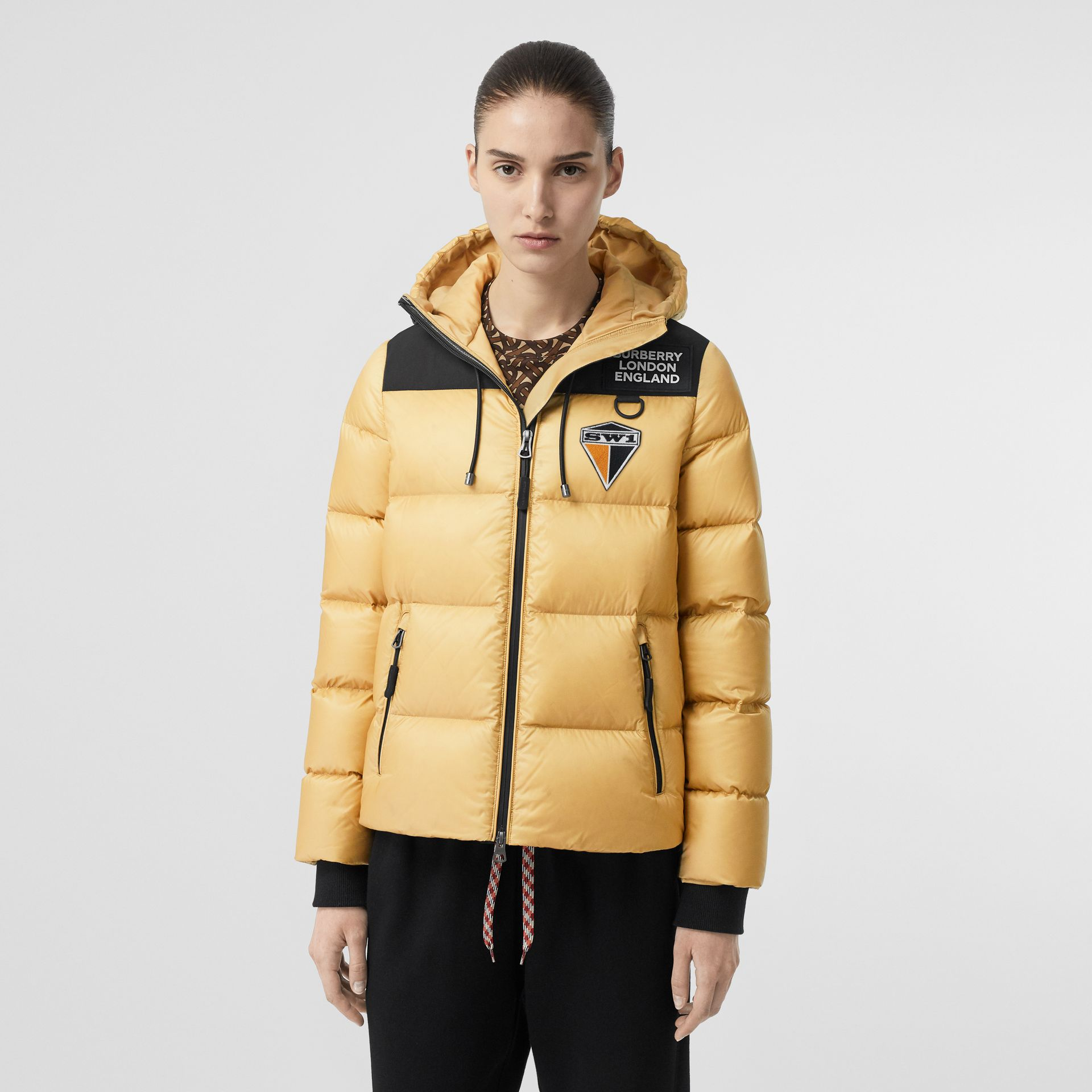 Logo Graphic Hooded Puffer Jacket in Pale Stone - Women | Burberry - gallery image 5