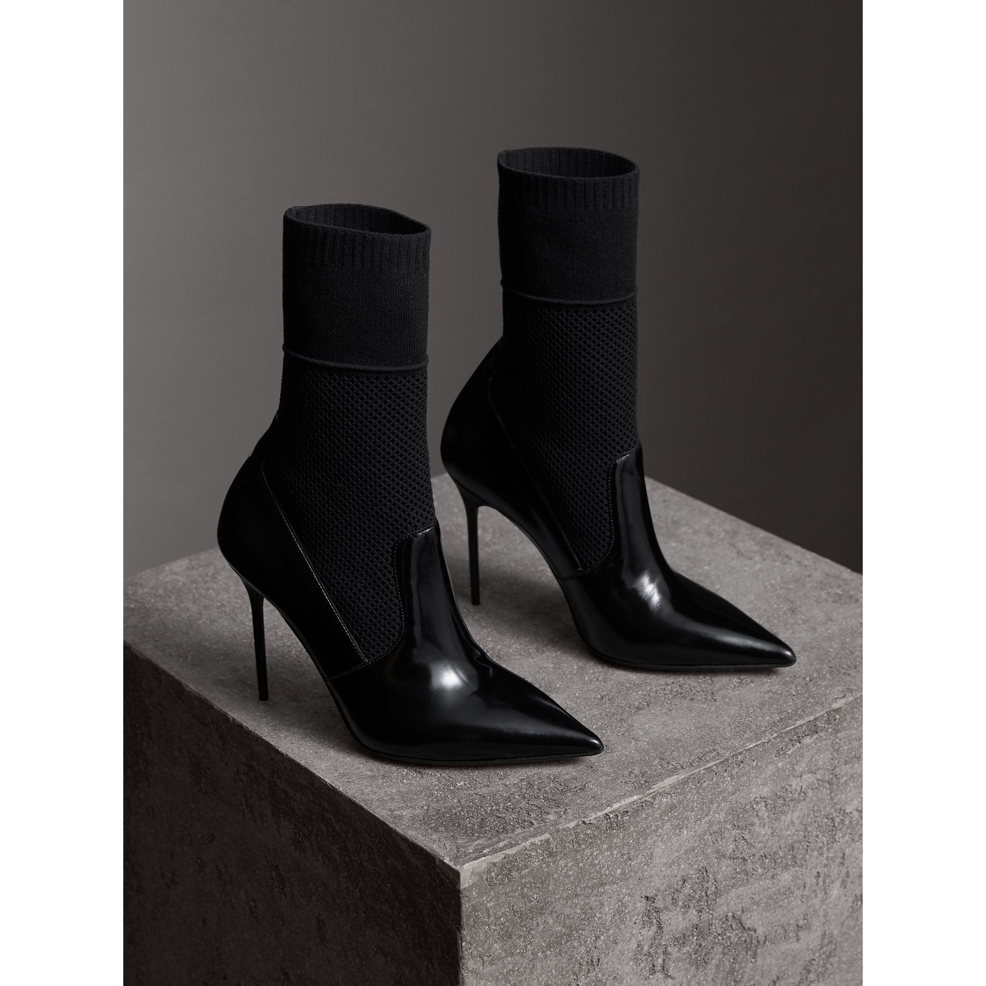 Mid-calf Patent Leather and Knitted Mesh Boots in Black - Women | Burberry - gallery image 5