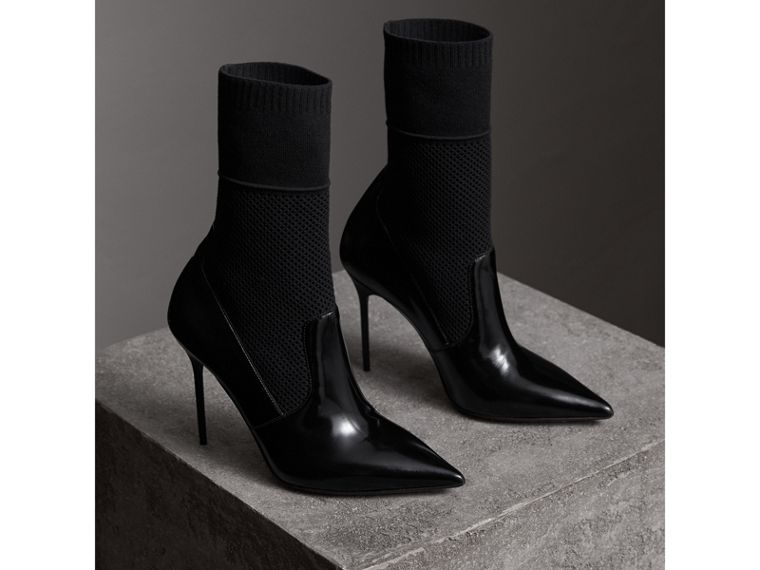 Mid-calf Patent Leather and Knitted Mesh Boots in Black - Women | Burberry - cell image 4