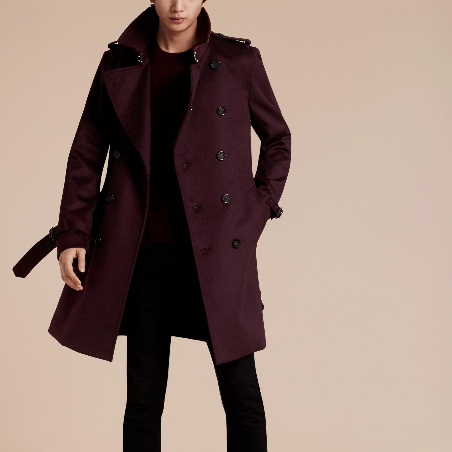Plum Cashmere Trench Coat Plum - gallery image 7
