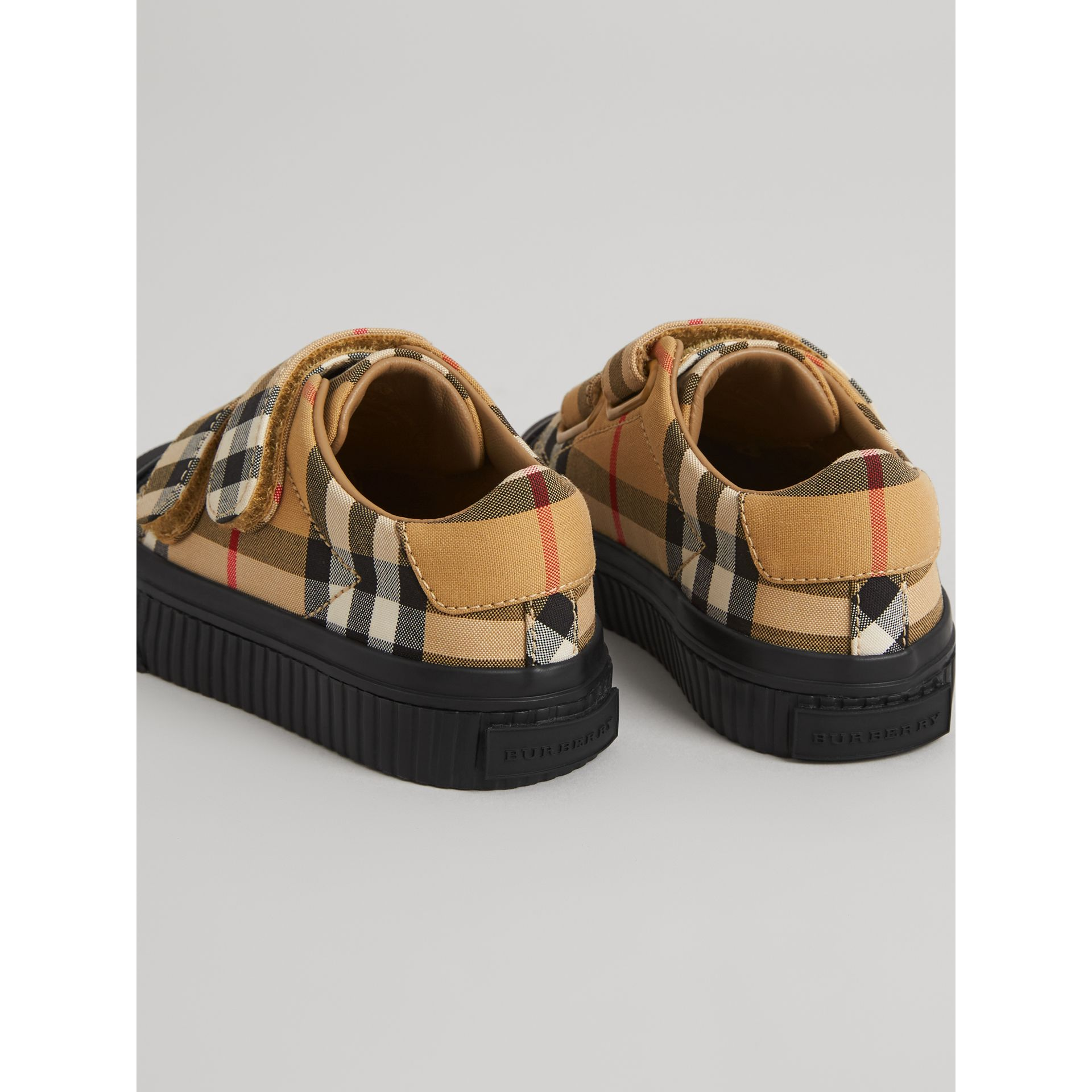 Vintage Check and Leather Sneakers in Antique Yellow/black - Children | Burberry Hong Kong - gallery image 2
