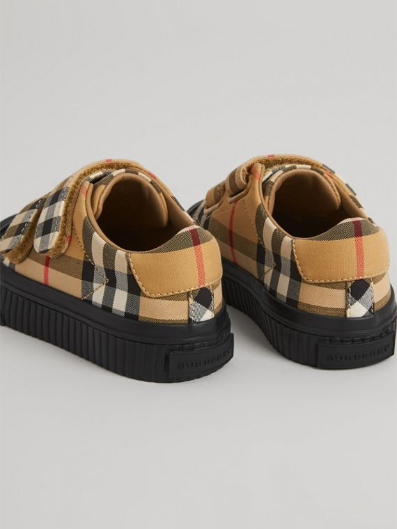 Vintage Check and Leather Sneakers in Antique Yellow/black | Burberry Canada - cell image 2