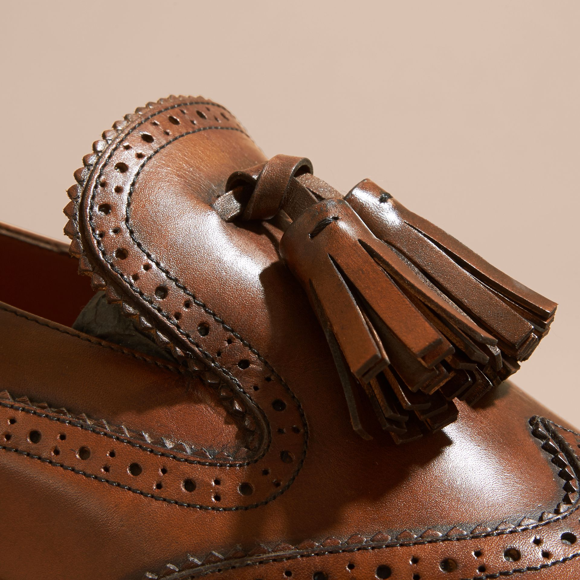 Leather Tassel Loafers Bright Camel - gallery image 2
