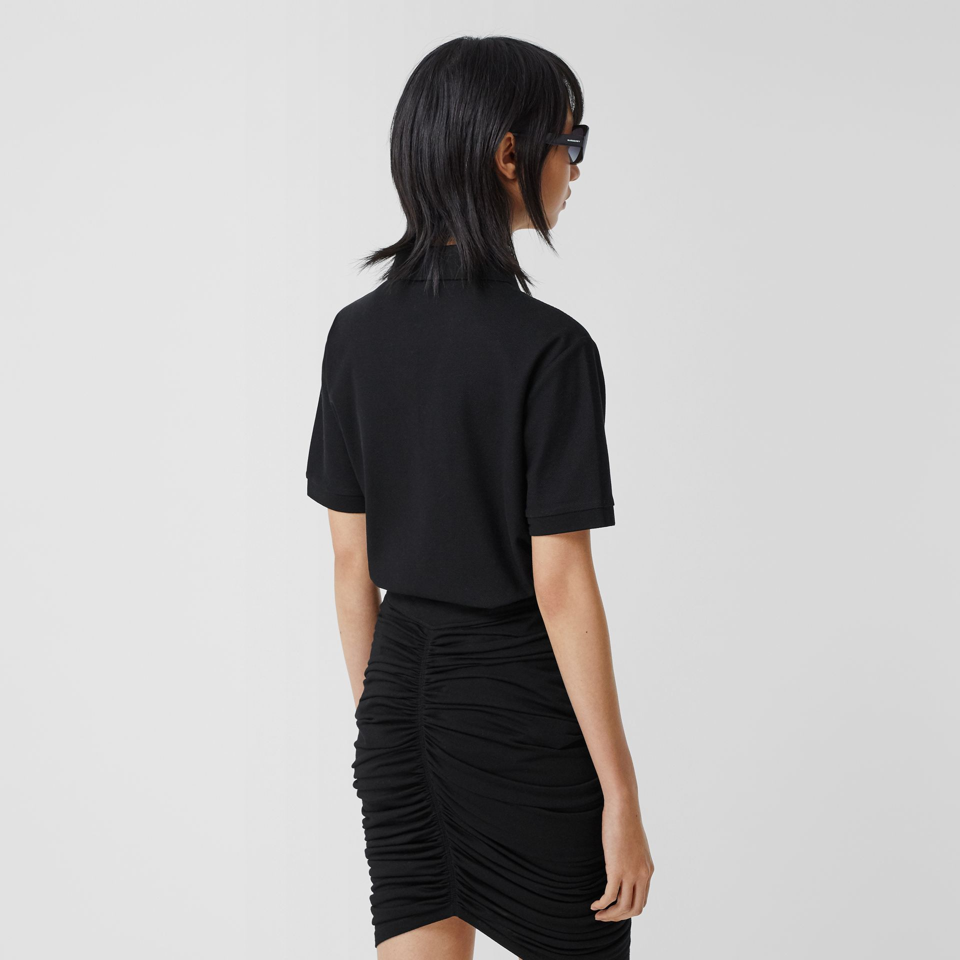 Deer Motif Cotton Piqué Oversized Polo Shirt in Black - Women | Burberry - gallery image 2
