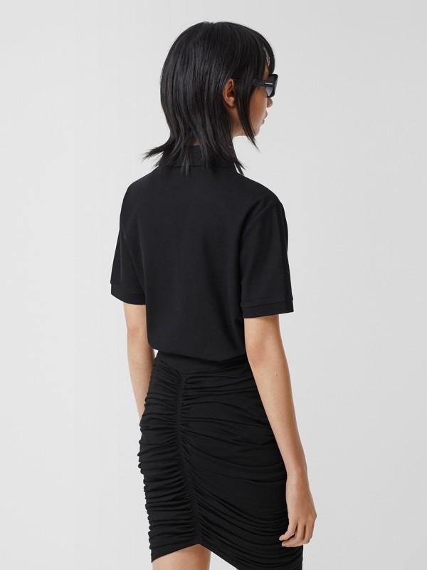 Deer Motif Cotton Piqué Oversized Polo Shirt in Black - Women | Burberry - cell image 2