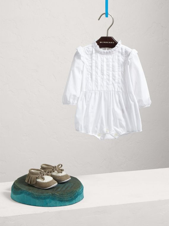 Ruffled Collar Cotton Bodysuit in White