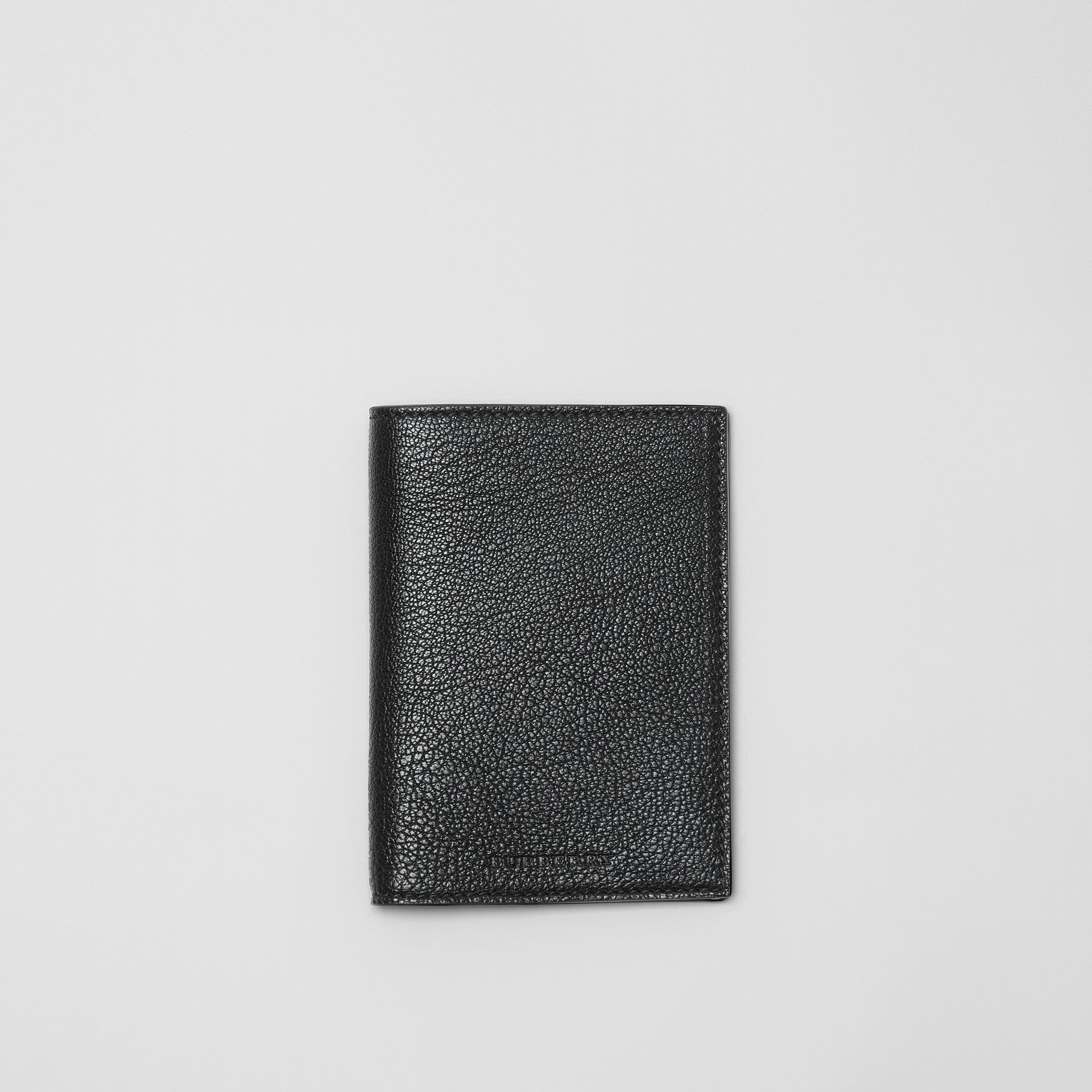 Leather Passport Holder in Black | Burberry - gallery image 0