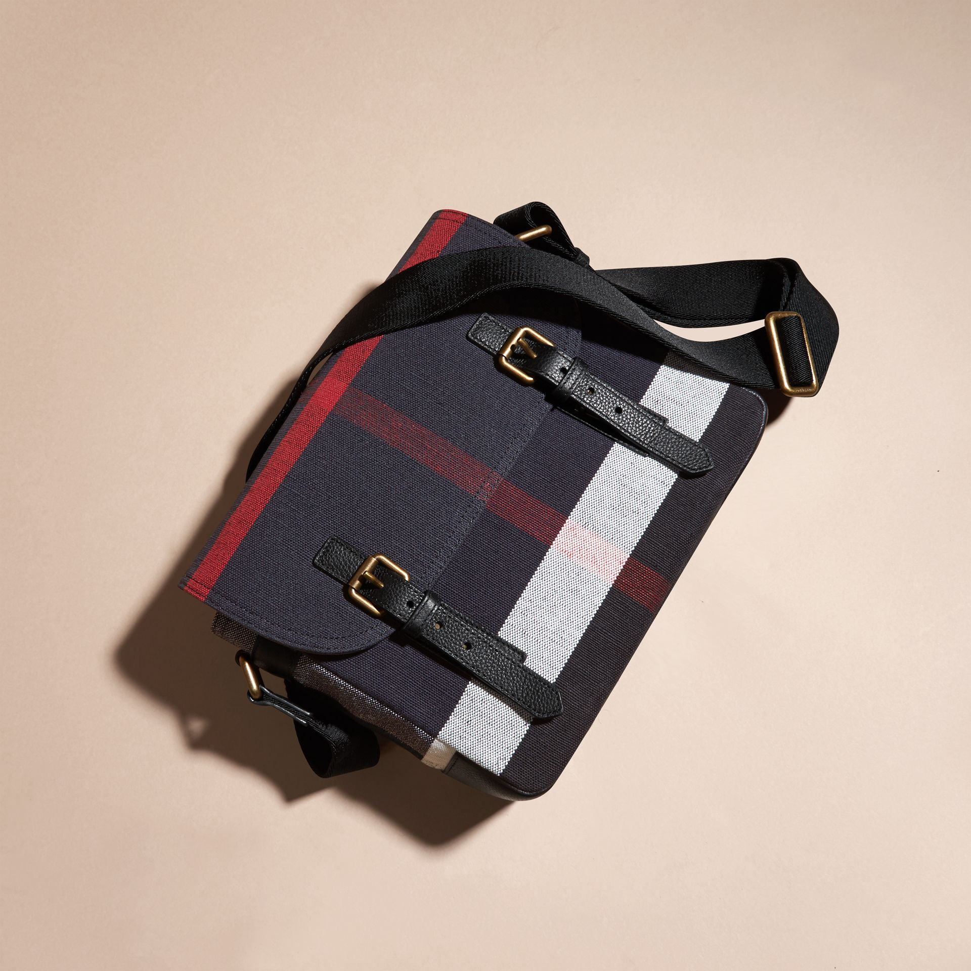 Small Canvas Check Messenger Bag - Men | Burberry - gallery image 7