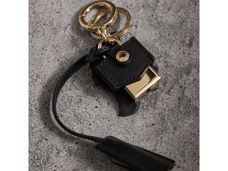 Pallas Helmet Motif Leather Key Charm and Padlock in Black/white - Women | Burberry - cell image 2