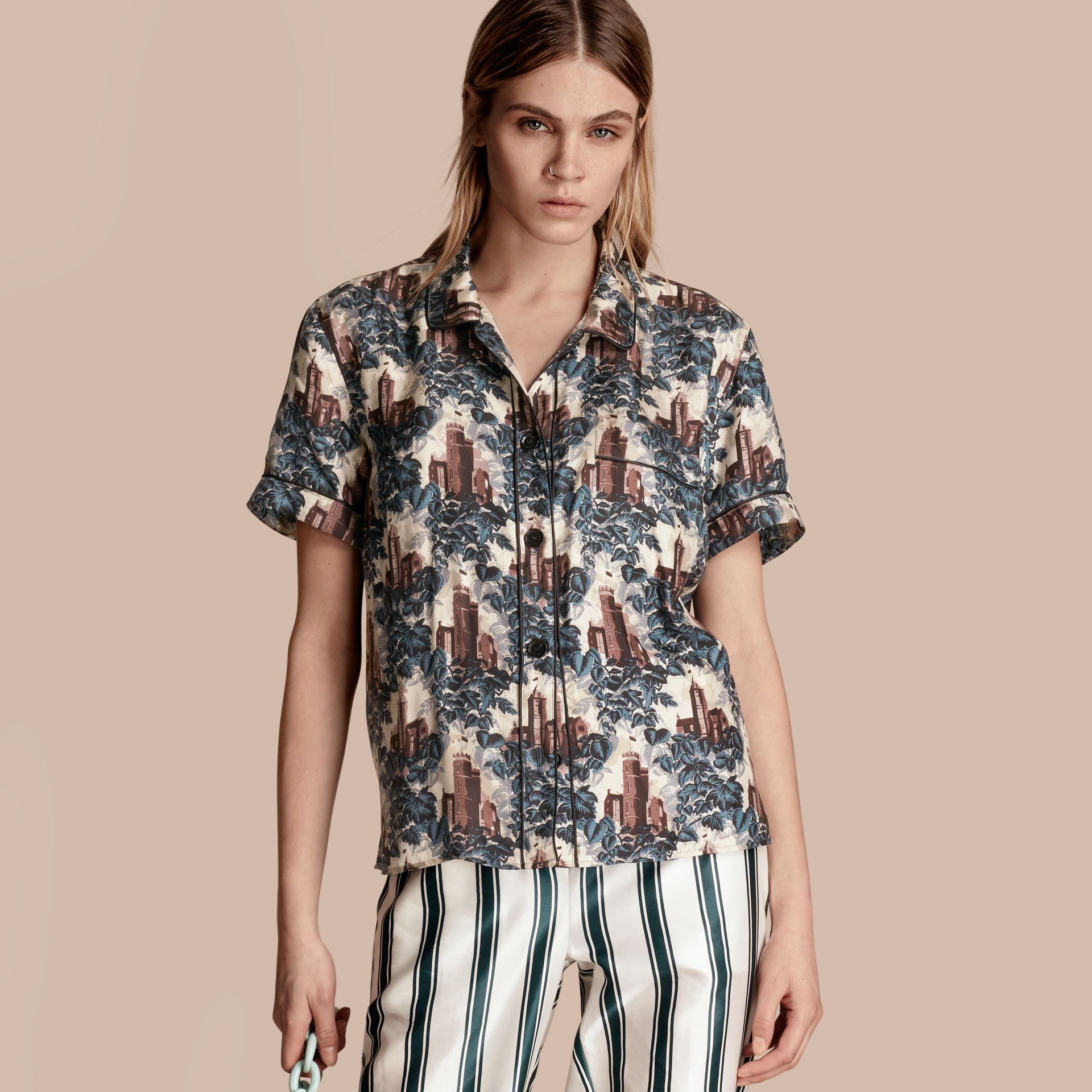 Airforce blue Short-sleeved Castle Print Silk Pyjama-style Shirt - gallery image 1